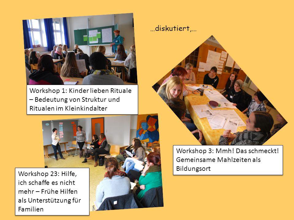 Workshop 1: Kinder lieben Rituale – Bedeutung von Struktur und Ritualen im Kleinkindalter Workshop 3: Mmh! Das schmeckt! Gemeinsame Mahlzeiten als Bil
