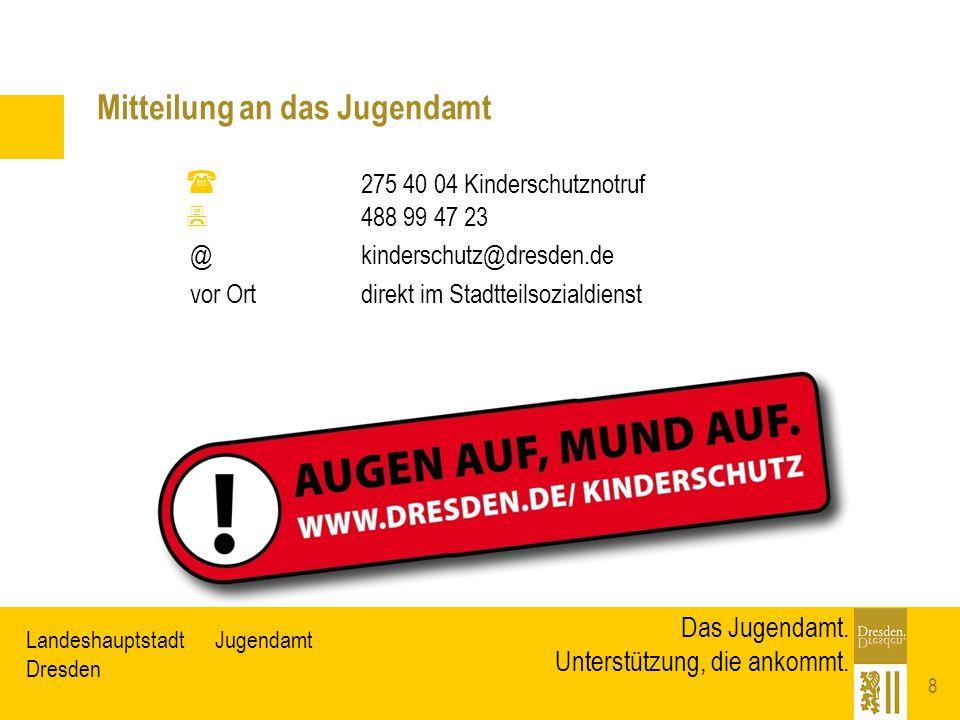 JugendamtLandeshauptstadt Dresden Das Jugendamt. Unterstützung, die ankommt. Mitteilung an das Jugendamt 8  275 40 04 Kinderschutznotruf  488 99 47
