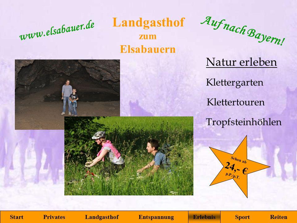 Landgasthof zum Elsabauern Start Privates Landgasthof Entspannung Erlebnis Sport Reiten www.elsabauer.de Auf nach Bayern! Klettergarten Tropfsteinhöhl
