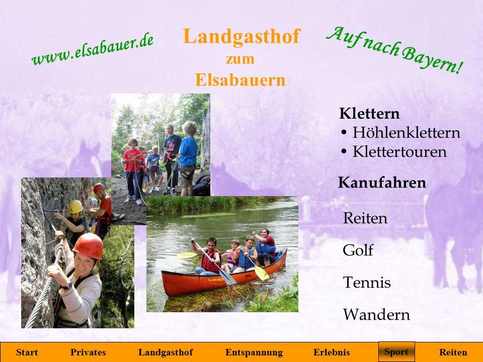 Landgasthof zum Elsabauern Start Privates Landgasthof Entspannung Erlebnis Sport Reiten www.elsabauer.de Auf nach Bayern! Sport Golf Tennis Reiten Kle
