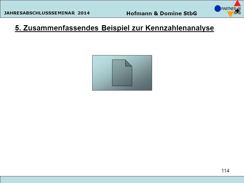 Hofmann & Domine StbG JAHRESABSCHLUSSSEMINAR 2014 114 5. Zusammenfassendes Beispiel zur Kennzahlenanalyse