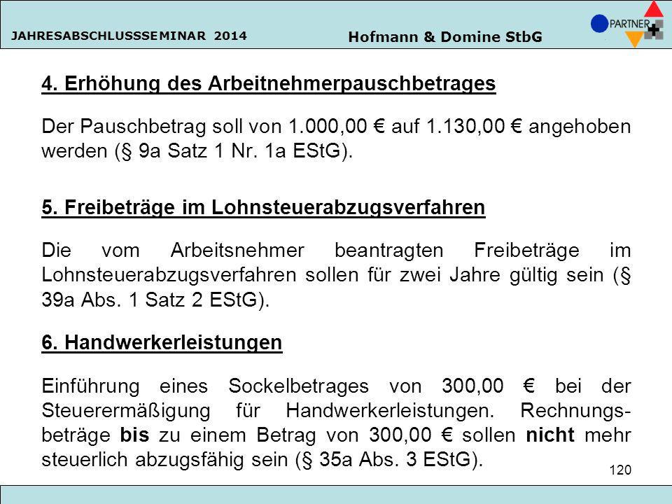 Hofmann & Domine StbG JAHRESABSCHLUSSSEMINAR 2014 120 4. Erhöhung des Arbeitnehmerpauschbetrages Der Pauschbetrag soll von 1.000,00 € auf 1.130,00 € a