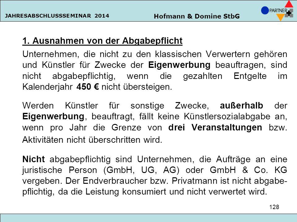 Hofmann & Domine StbG JAHRESABSCHLUSSSEMINAR 2014 128 1. Ausnahmen von der Abgabepflicht Unternehmen, die nicht zu den klassischen Verwertern gehören