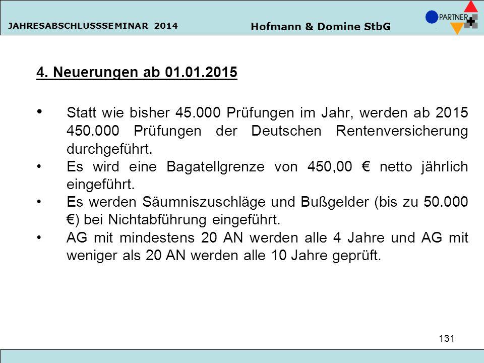 Hofmann & Domine StbG JAHRESABSCHLUSSSEMINAR 2014 131 4. Neuerungen ab 01.01.2015 Statt wie bisher 45.000 Prüfungen im Jahr, werden ab 2015 450.000 Pr