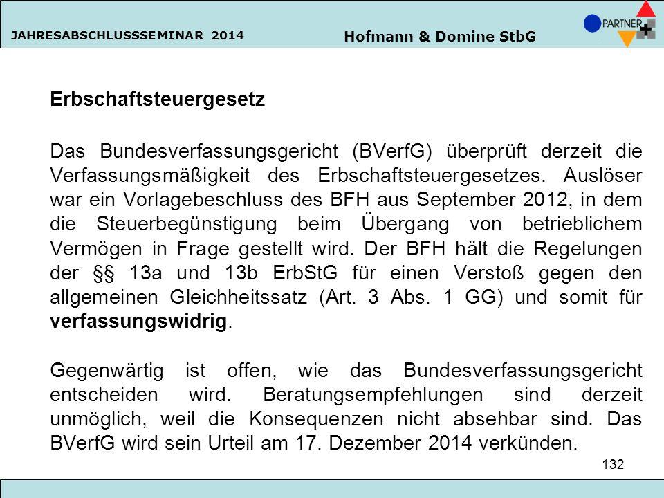 Hofmann & Domine StbG JAHRESABSCHLUSSSEMINAR 2014 132 Erbschaftsteuergesetz Das Bundesverfassungsgericht (BVerfG) überprüft derzeit die Verfassungsmäß