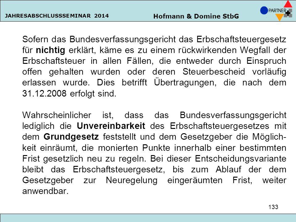 Hofmann & Domine StbG JAHRESABSCHLUSSSEMINAR 2014 133 Sofern das Bundesverfassungsgericht das Erbschaftsteuergesetz für nichtig erklärt, käme es zu ei