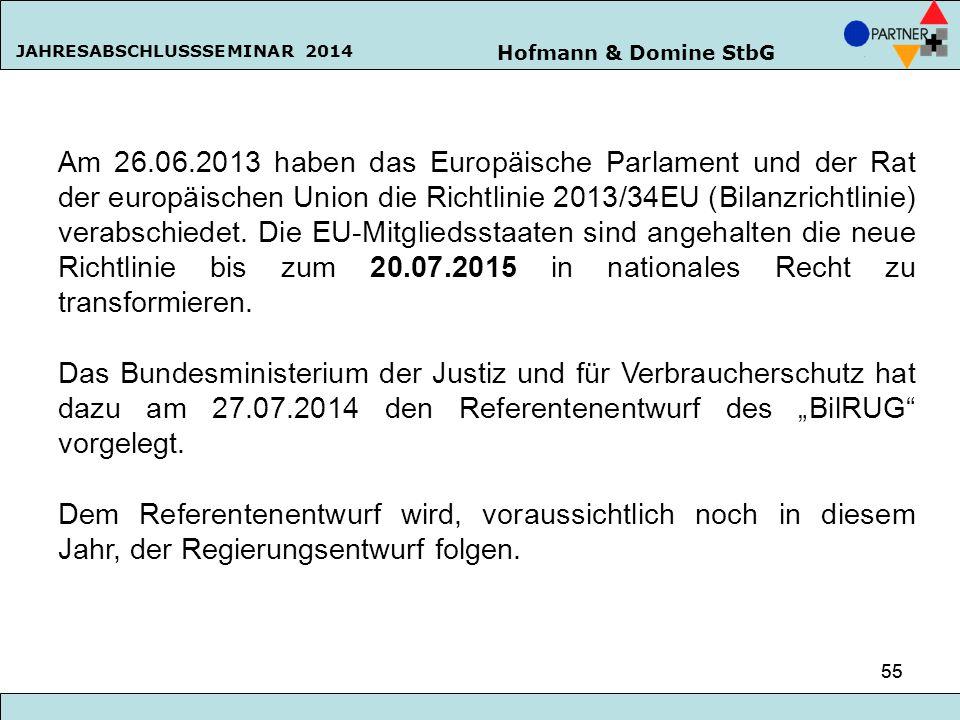Hofmann & Domine StbG JAHRESABSCHLUSSSEMINAR 2014 55 Am 26.06.2013 haben das Europäische Parlament und der Rat der europäischen Union die Richtlinie 2
