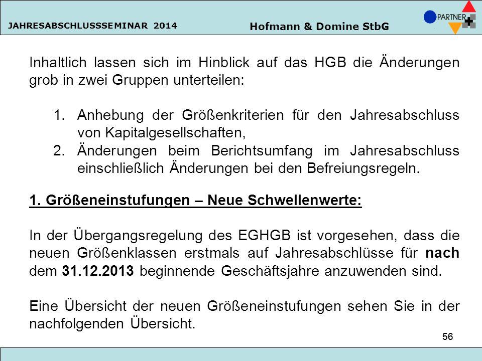 Hofmann & Domine StbG JAHRESABSCHLUSSSEMINAR 2014 56 Inhaltlich lassen sich im Hinblick auf das HGB die Änderungen grob in zwei Gruppen unterteilen: 1