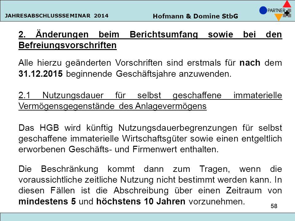 Hofmann & Domine StbG JAHRESABSCHLUSSSEMINAR 2014 58 2. Änderungen beim Berichtsumfang sowie bei den Befreiungsvorschriften Alle hierzu geänderten Vor