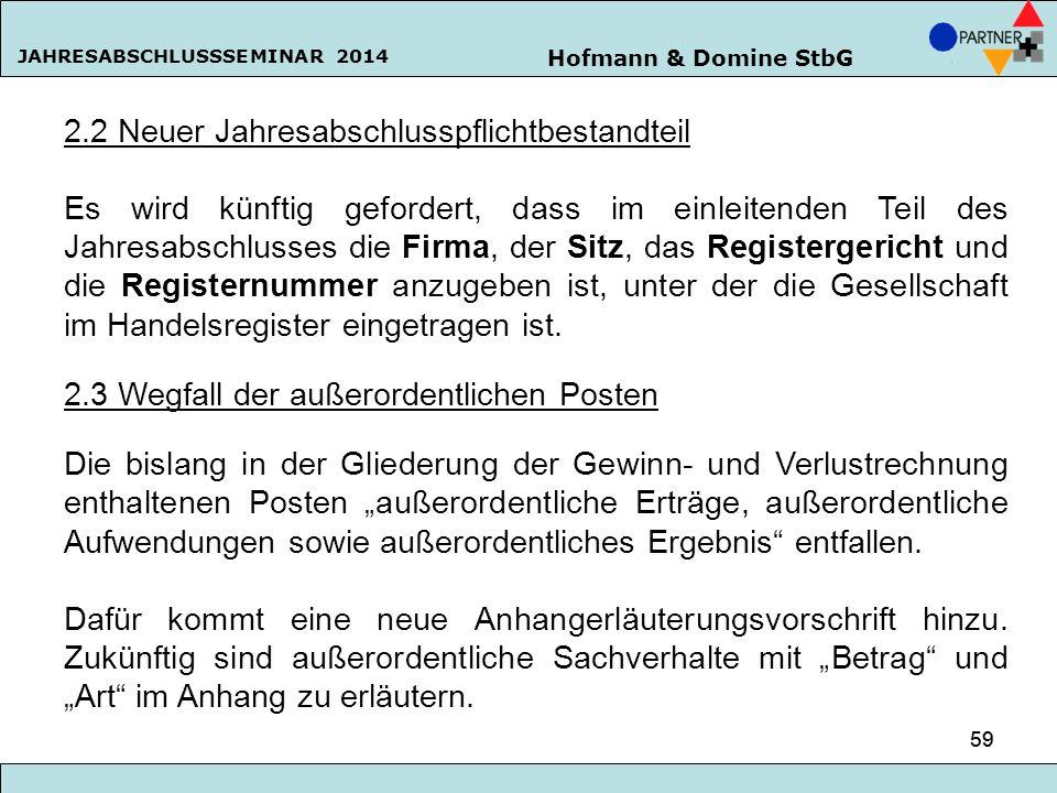 Hofmann & Domine StbG JAHRESABSCHLUSSSEMINAR 2014 59 2.2 Neuer Jahresabschlusspflichtbestandteil Es wird künftig gefordert, dass im einleitenden Teil