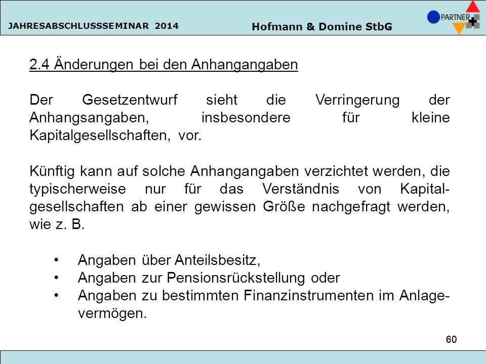 Hofmann & Domine StbG JAHRESABSCHLUSSSEMINAR 2014 60 2.4 Änderungen bei den Anhangangaben Der Gesetzentwurf sieht die Verringerung der Anhangsangaben,