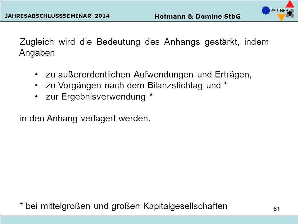 Hofmann & Domine StbG JAHRESABSCHLUSSSEMINAR 2014 61 Zugleich wird die Bedeutung des Anhangs gestärkt, indem Angaben zu außerordentlichen Aufwendungen