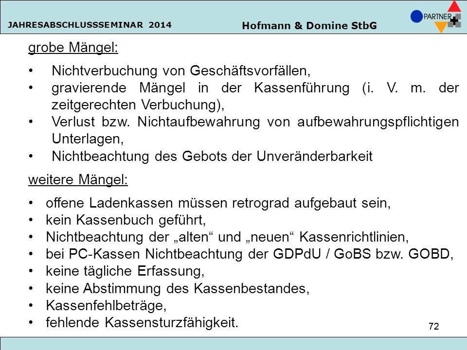 Hofmann & Domine StbG JAHRESABSCHLUSSSEMINAR 2014 72 grobe Mängel: Nichtverbuchung von Geschäftsvorfällen, gravierende Mängel in der Kassenführung (i.