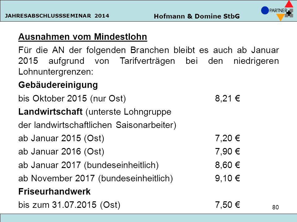 Hofmann & Domine StbG JAHRESABSCHLUSSSEMINAR 2014 80 Ausnahmen vom Mindestlohn Für die AN der folgenden Branchen bleibt es auch ab Januar 2015 aufgrun