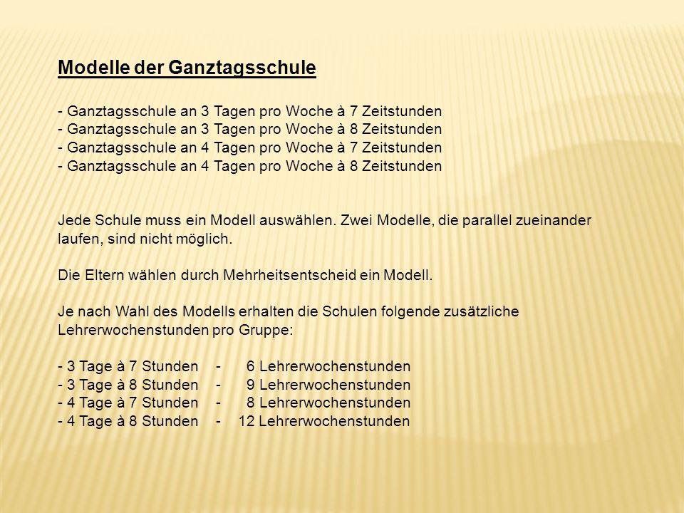 Modelle der Ganztagsschule - Ganztagsschule an 3 Tagen pro Woche à 7 Zeitstunden - Ganztagsschule an 3 Tagen pro Woche à 8 Zeitstunden - Ganztagsschul