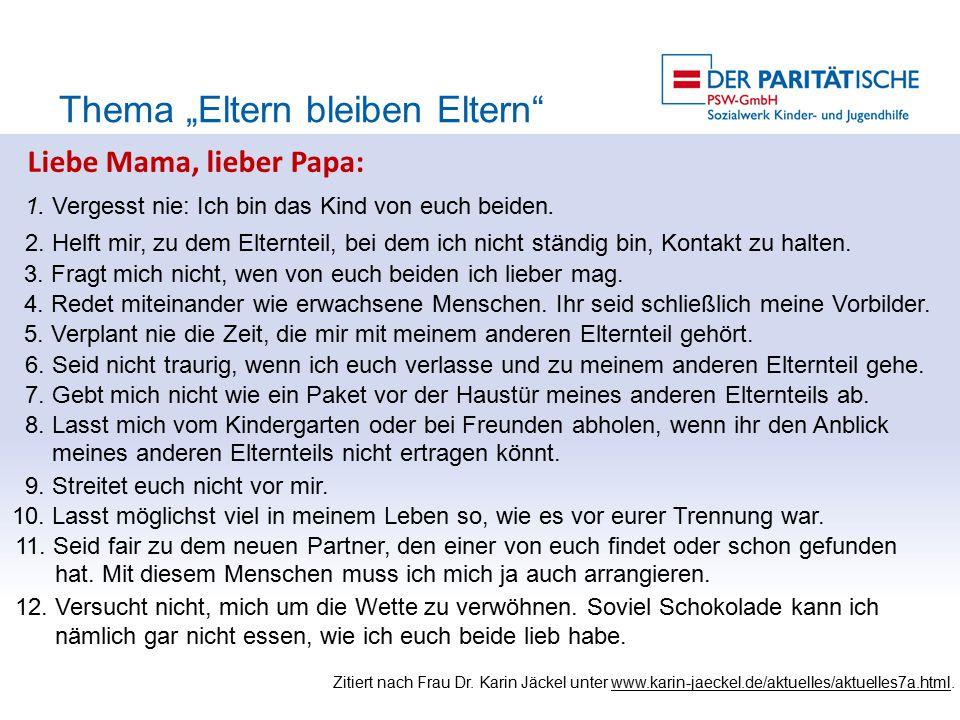 """Liebe Mama, lieber Papa: Thema """"Eltern bleiben Eltern 1."""