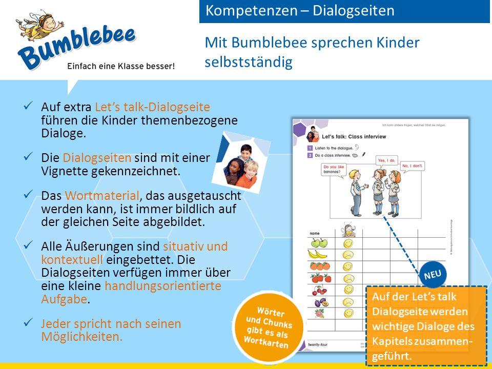 Mit Bumblebee sprechen Kinder selbstständig Auf extra Let's talk-Dialogseite führen die Kinder themenbezogene Dialoge.