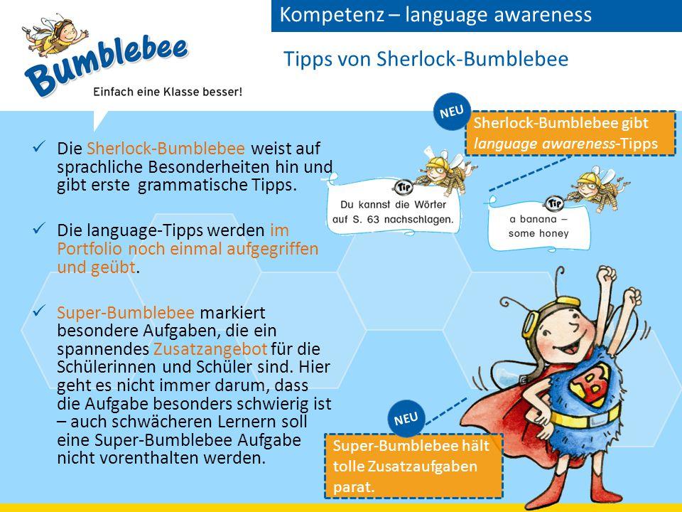 Tipps von Sherlock-Bumblebee Die Sherlock-Bumblebee weist auf sprachliche Besonderheiten hin und gibt erste grammatische Tipps.