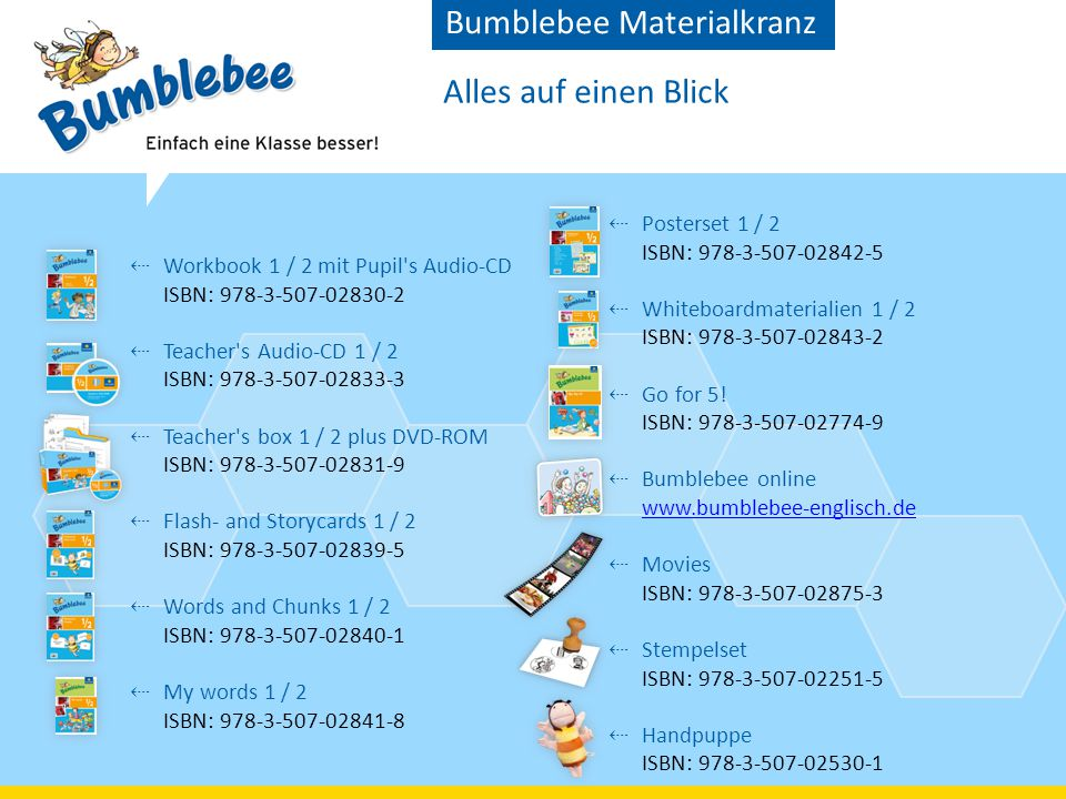 Alles auf einen Blick Bumblebee Materialkranz ⇠ Workbook 1 / 2 mit Pupil's Audio-CD ISBN: 978-3-507-02830-2 ⇠ Teacher's Audio-CD 1 / 2 ISBN: 978-3-507