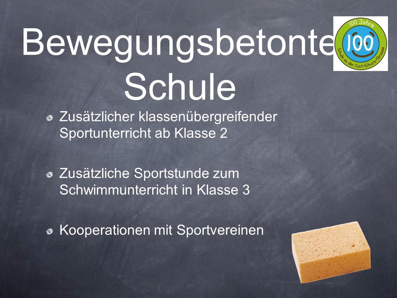 Zusätzlicher klassenübergreifender Sportunterricht ab Klasse 2 Zusätzliche Sportstunde zum Schwimmunterricht in Klasse 3 Kooperationen mit Sportverein