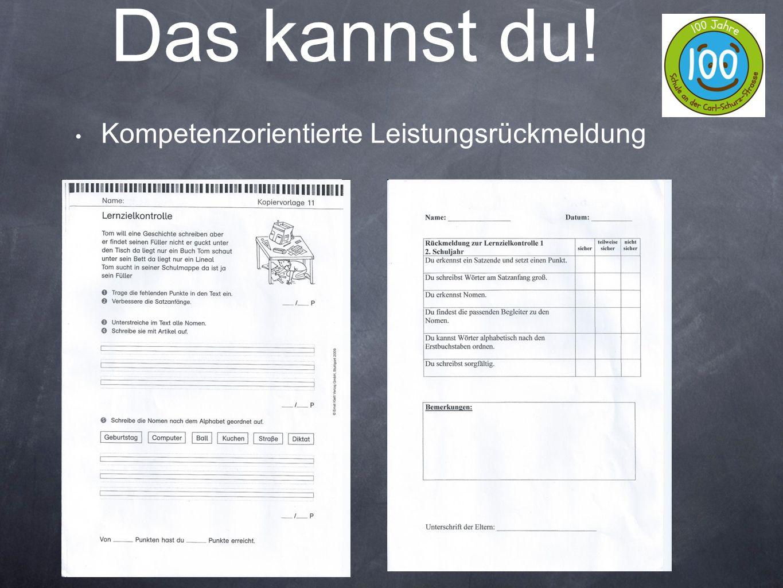 Kompetenzorientierte Leistungsrückmeldung m Das kannst du!