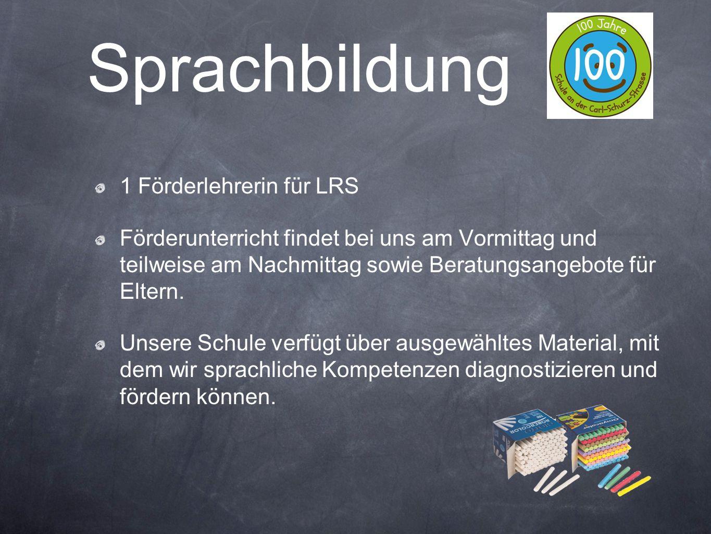 1 Förderlehrerin für LRS Förderunterricht findet bei uns am Vormittag und teilweise am Nachmittag sowie Beratungsangebote für Eltern. Unsere Schule ve