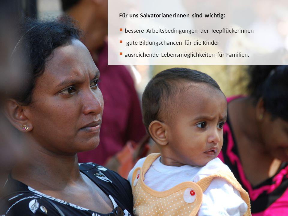 Für uns Salvatorianerinnen sind wichtig:  bessere Arbeitsbedingungen der Teepflückerinnen  gute Bildungschancen für die Kinder  ausreichende Lebens