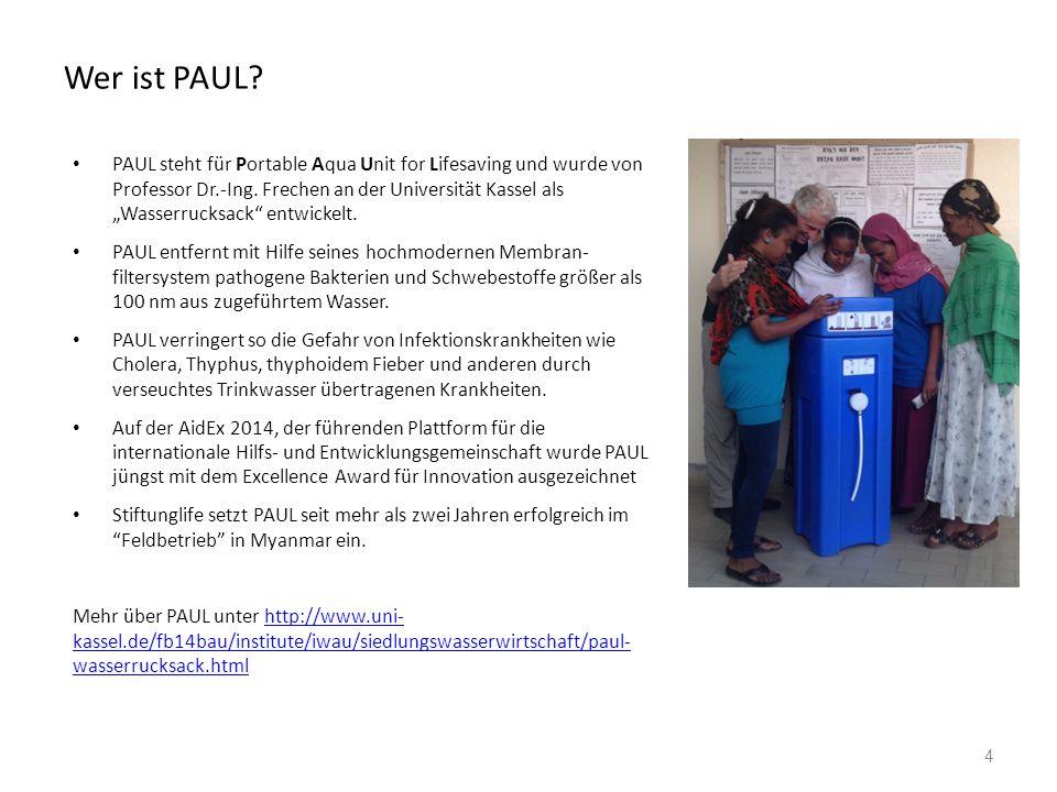Wer ist PAUL. PAUL steht für Portable Aqua Unit for Lifesaving und wurde von Professor Dr.-Ing.