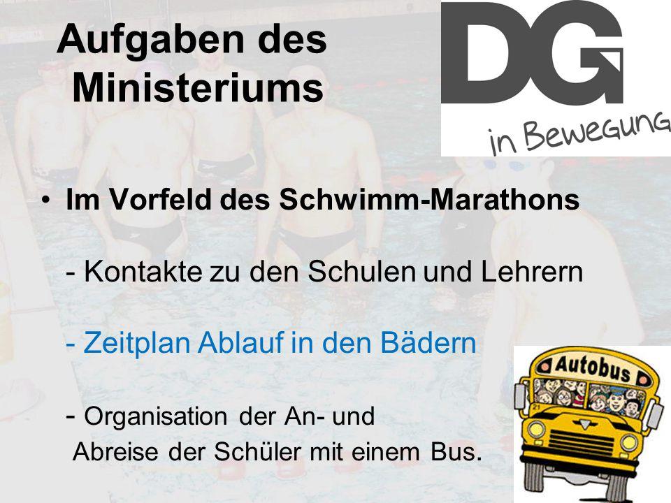 Aufgaben des Ministeriums Im Vorfeld des Schwimm-Marathons - Kontakte zu den Schulen und Lehrern - Zeitplan Ablauf in den Bädern - Organisation der An