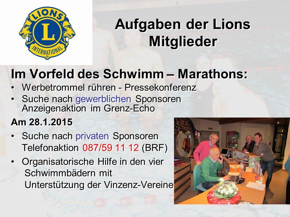 Aufgaben der Lions Mitglieder Im Vorfeld des Schwimm – Marathons: Werbetrommel rühren - Pressekonferenz Suche nach gewerblichen Sponsoren Anzeigenakti