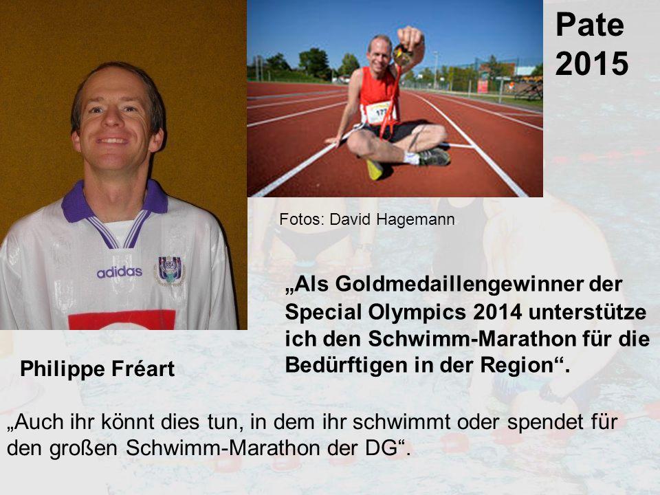 """Pate 2015 """"Auch ihr könnt dies tun, in dem ihr schwimmt oder spendet für den großen Schwimm-Marathon der DG"""". """" Als Goldmedaillengewinner der Special"""