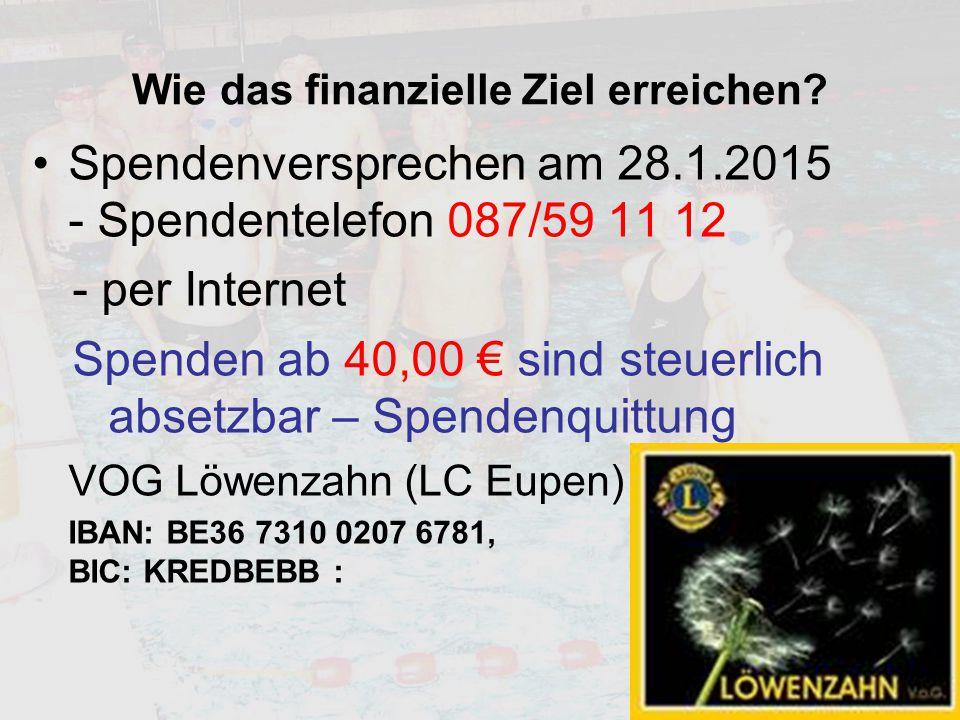 Wie das finanzielle Ziel erreichen? Spendenversprechen am 28.1.2015 - Spendentelefon 087/59 11 12 - per Internet Spenden ab 40,00 € sind steuerlich ab