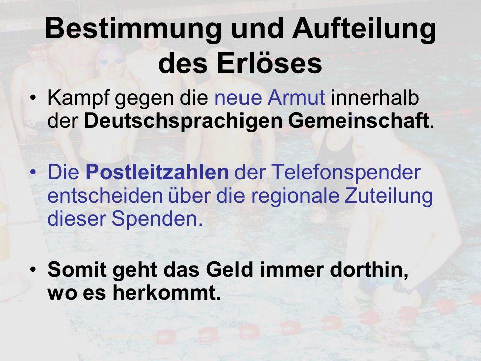 Bestimmung und Aufteilung des Erlöses Kampf gegen die neue Armut innerhalb der Deutschsprachigen Gemeinschaft. Die Postleitzahlen der Telefonspender e