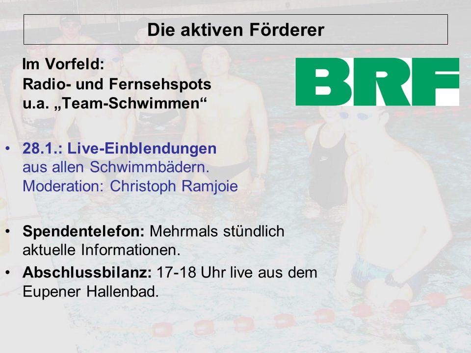 """Die aktiven Förderer Im Vorfeld: Radio- und Fernsehspots u.a. """"Team-Schwimmen"""" 28.1.: Live-Einblendungen aus allen Schwimmbädern. Moderation: Christop"""