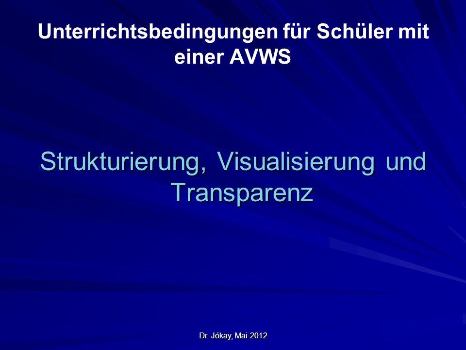 Dr. Jókay, Mai 2012 Unterrichtsbedingungen für Schüler mit einer AVWS Strukturierung, Visualisierung und Transparenz