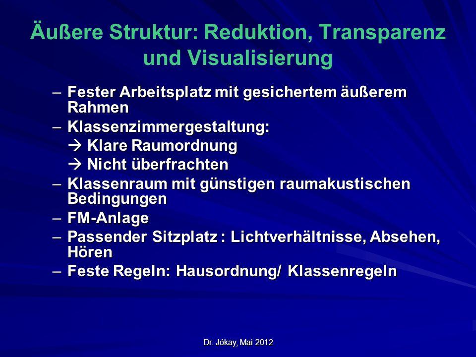 Dr. Jókay, Mai 2012 Äußere Struktur: Reduktion, Transparenz und Visualisierung –Fester Arbeitsplatz mit gesichertem äußerem Rahmen –Klassenzimmergesta