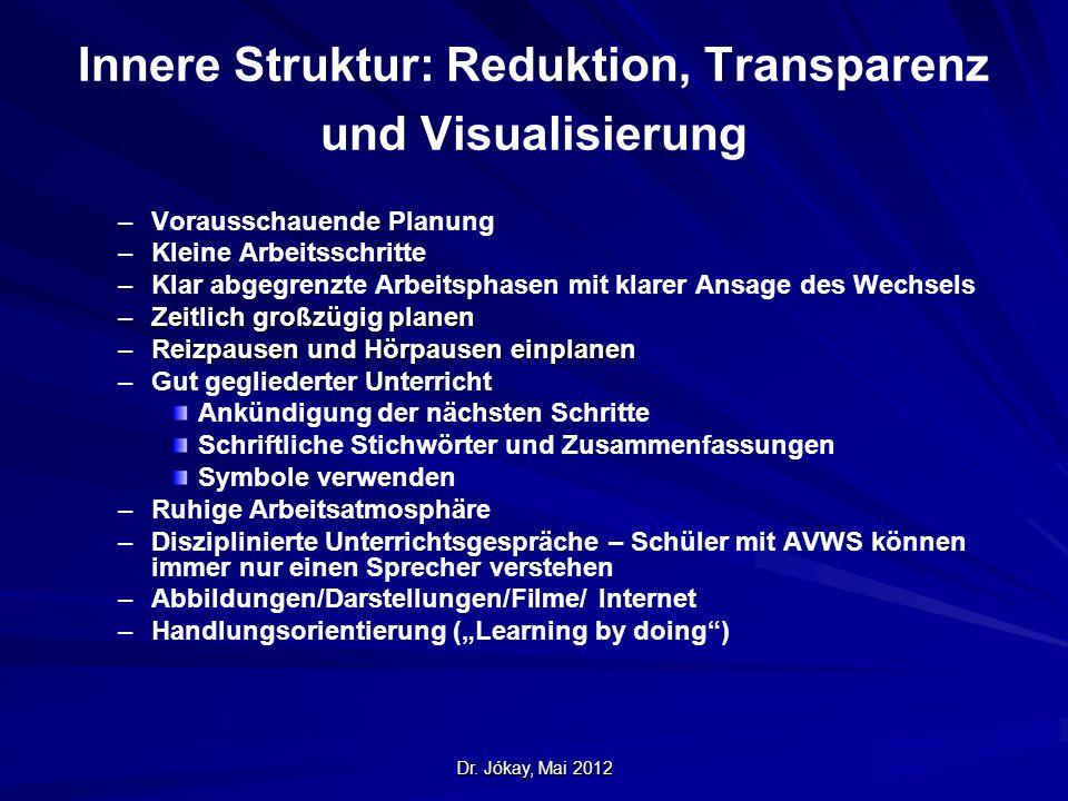 Dr. Jókay, Mai 2012 Innere Struktur: Reduktion, Transparenz und Visualisierung – –Vorausschauende Planung – –Kleine Arbeitsschritte – –Klar abgegrenzt