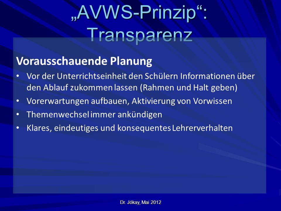 """Dr. Jókay, Mai 2012 """"AVWS-Prinzip"""": Transparenz Vorausschauende Planung Vor der Unterrichtseinheit den Schülern Informationen über den Ablauf zukommen"""
