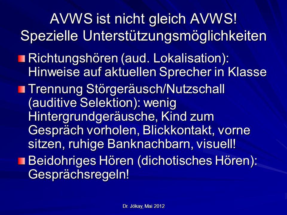 Dr. Jókay, Mai 2012 AVWS ist nicht gleich AVWS! Spezielle Unterstützungsmöglichkeiten Richtungshören (aud. Lokalisation): Hinweise auf aktuellen Sprec