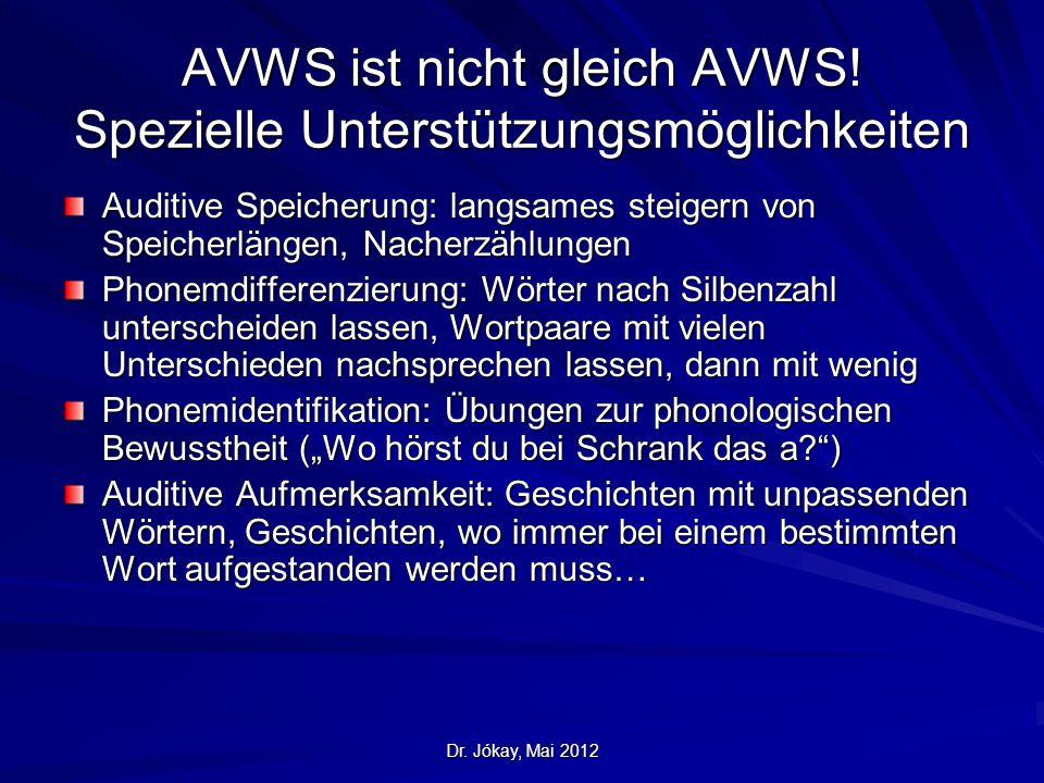 Dr. Jókay, Mai 2012 AVWS ist nicht gleich AVWS! Spezielle Unterstützungsmöglichkeiten Auditive Speicherung: langsames steigern von Speicherlängen, Nac