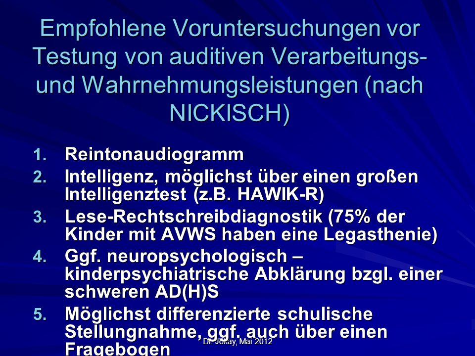 Dr. Jókay, Mai 2012 Empfohlene Voruntersuchungen vor Testung von auditiven Verarbeitungs- und Wahrnehmungsleistungen (nach NICKISCH) 1. Reintonaudiogr