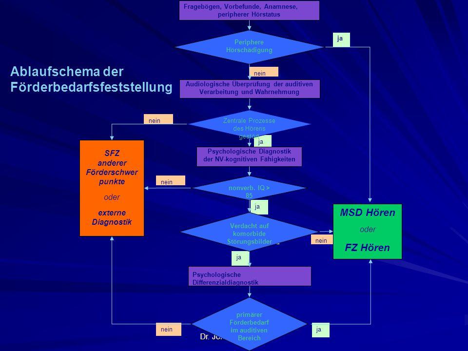 Dr. Jókay, Mai 2012 janein ja nein ja nein ja nein ja nein Periphere Hörschädigung Zentrale Prozesse des Hörens gestört Fragebögen, Vorbefunde, Anamne