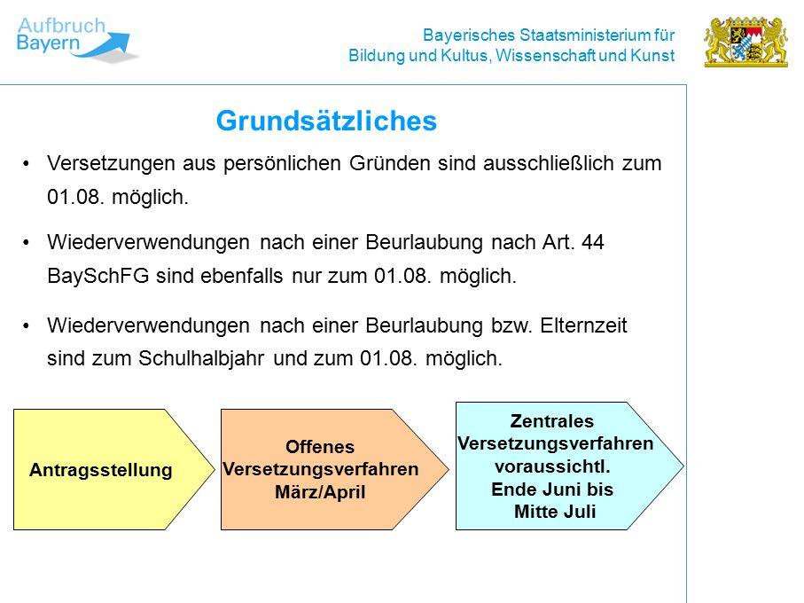 Bayerisches Staatsministerium für Bildung und Kultus, Wissenschaft und Kunst Offenes Versetzungsverfahren Wie bewerbe ich mich um eine ausgeschriebene Stelle.