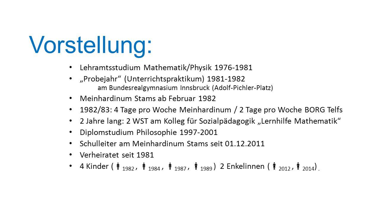 """Vorstellung: Lehramtsstudium Mathematik/Physik 1976-1981 """"Probejahr"""" (Unterrichtspraktikum) 1981-1982 am Bundesrealgymnasium Innsbruck (Adolf-Pichler-"""