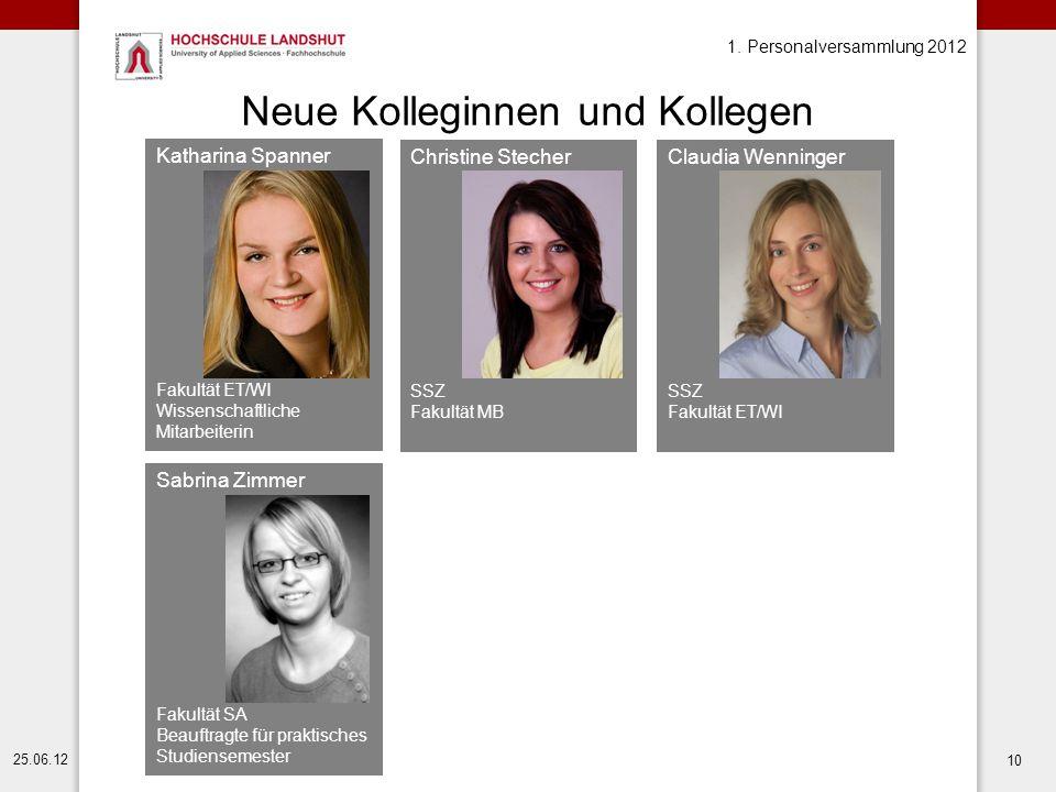 1. Personalversammlung 2012 25.06.12 10 Neue Kolleginnen und Kollegen Katharina Spanner Fakultät ET/WI Wissenschaftliche Mitarbeiterin Sabrina Zimmer