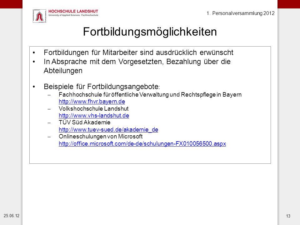1. Personalversammlung 2012 25.06.12 13 Fortbildungsmöglichkeiten Fortbildungen für Mitarbeiter sind ausdrücklich erwünscht In Absprache mit dem Vorge