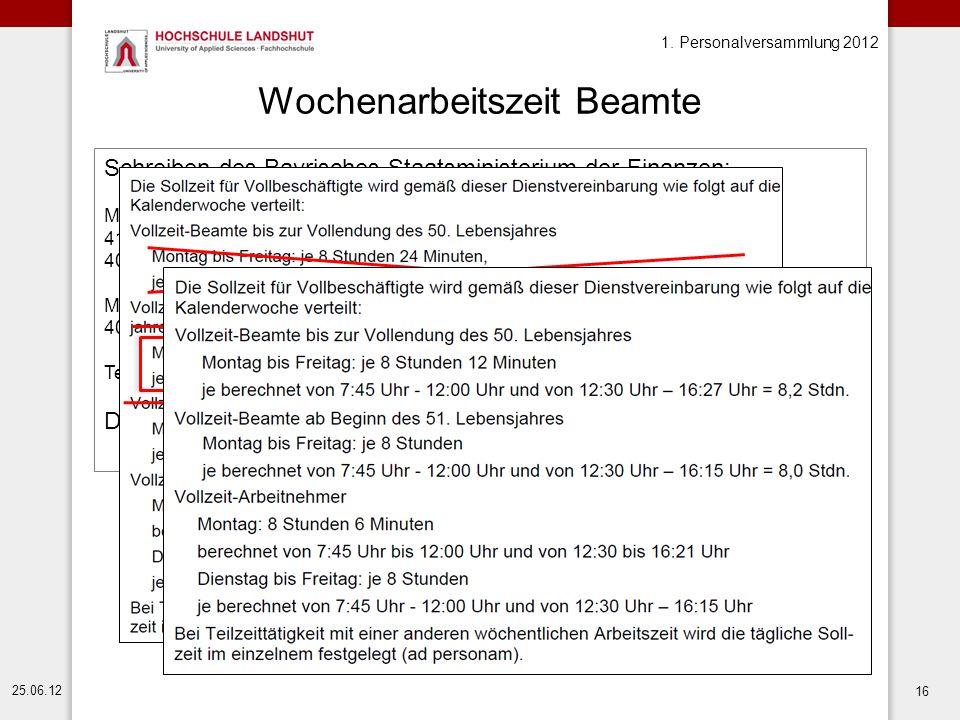 1. Personalversammlung 2012 25.06.12 16 Wochenarbeitszeit Beamte Schreiben des Bayrisches Staatsministerium der Finanzen: Mit Wirkung zum 1. August 20