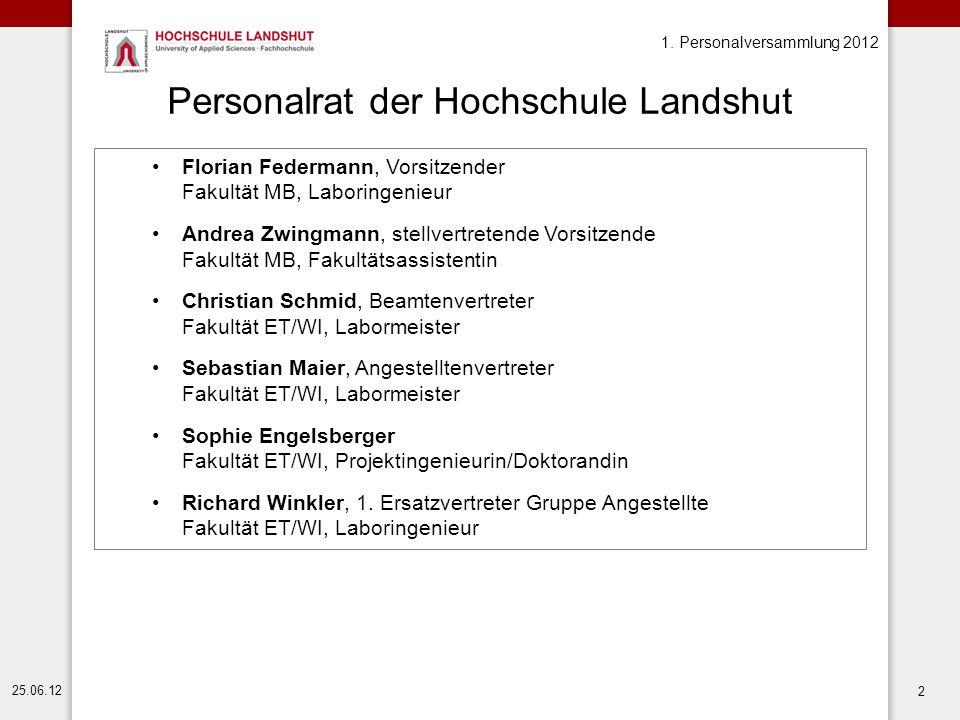 1. Personalversammlung 2012 25.06.12 2 Personalrat der Hochschule Landshut Florian Federmann, Vorsitzender Fakultät MB, Laboringenieur Andrea Zwingman