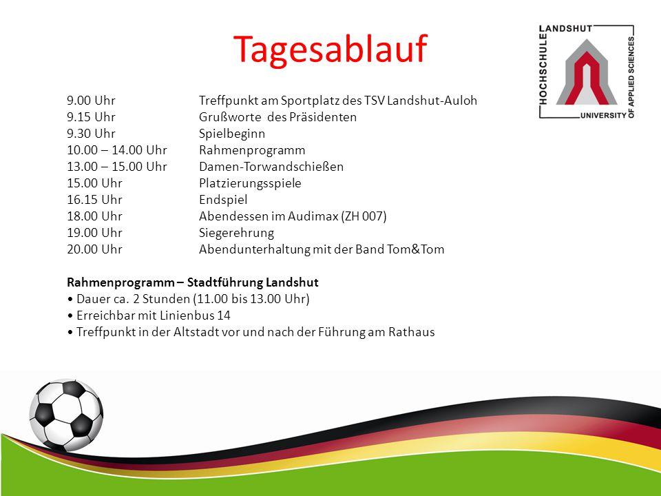 Tagesablauf 9.00 Uhr Treffpunkt am Sportplatz des TSV Landshut-Auloh 9.15 Uhr Grußworte des Präsidenten 9.30 Uhr Spielbeginn 10.00 – 14.00 Uhr Rahmenp