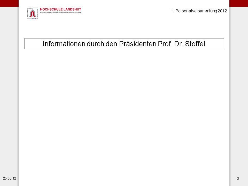 1. Personalversammlung 2012 25.06.12 3 Informationen durch den Präsidenten Prof. Dr. Stoffel